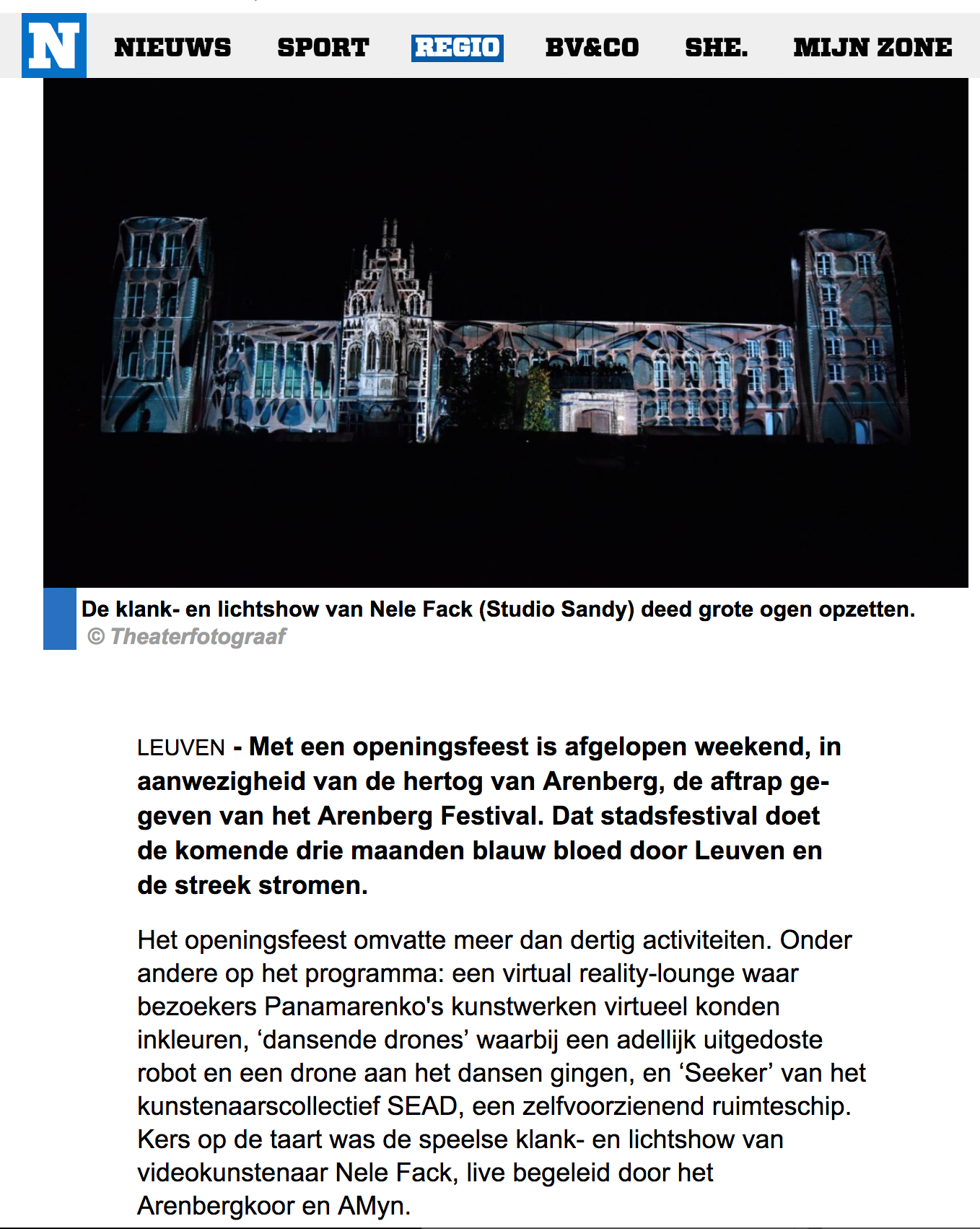 nieuwsblad – videomapping leuven